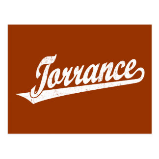 Torrance script logo in white distressed postcard