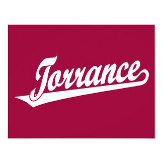 Torrance script logo in white 4.25x5.5 paper invitation card