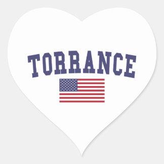 Torrance US Flag Heart Sticker