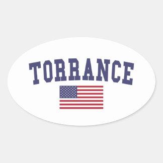 Torrance US Flag Oval Sticker
