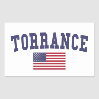 Torrance US Flag Rectangular Sticker