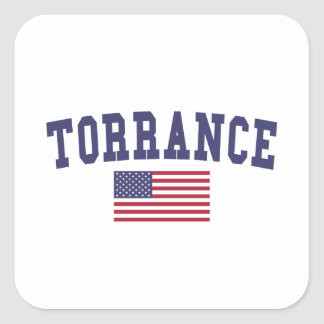 Torrance US Flag Square Sticker