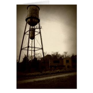 torre abandonada del edificio y de agua tarjeta de felicitación