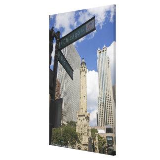 Torre de agua, Chicago, Illinois, los E.E.U.U. Lona Envuelta Para Galerias