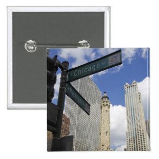 Torre de agua, Chicago, Illinois, los E.E.U.U. Pin Cuadrada 5 Cm