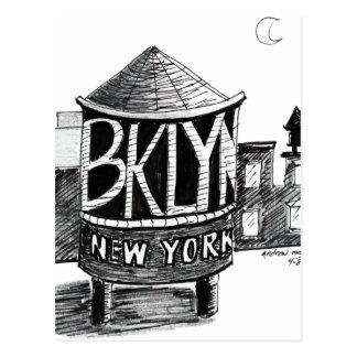 Torre de agua de Brooklyn Tarjeta Postal
