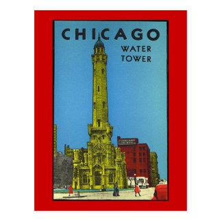 Torre de agua de Chicago del vintage Postales