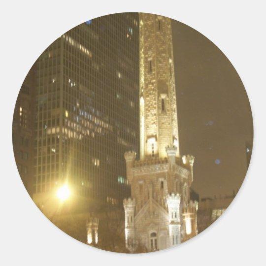 Torre de agua de Chicago Pegatina Redonda