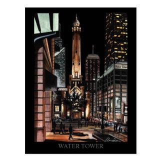 Torre de agua de Chicago que pinta el arte de Tarjeta Postal