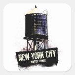Torre de agua de New York City Calcomania Cuadrada Personalizada