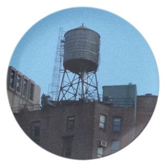 Torre de agua de NYC Platos Para Fiestas