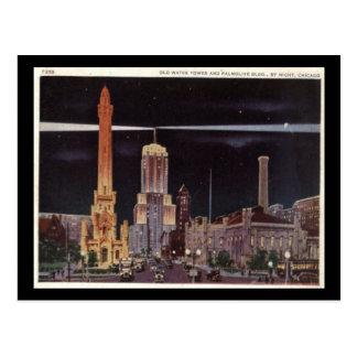 Torre de agua y edificio de Palmolive Chicago Vin Postales