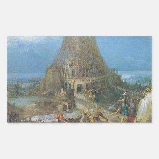 Torre de Babel de Pieter Bruegel Rectangular Pegatinas