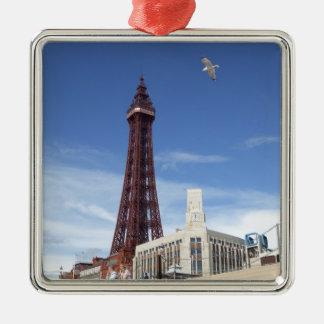 Torre de Blackpool Adorno Cuadrado Plateado
