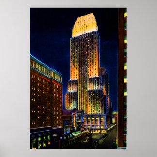Torre de Cincinnati Ohio Carew en la noche Posters