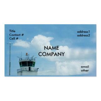 torre de control de los aviones en el cielo azul tarjeta de negocio