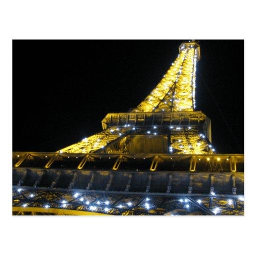 Torre de Eifel en la noche Tarjeta Postal