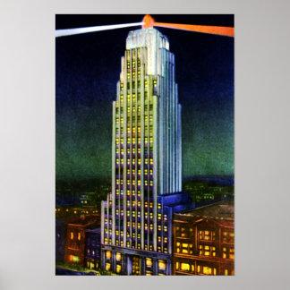 Torre de fuerte Wayne Indiana Lincoln en la noche Póster