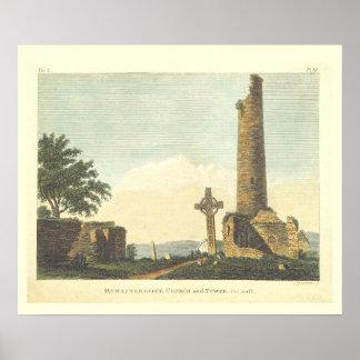 Torre de iglesia de Monasterboice Co Louth Irlanda Póster