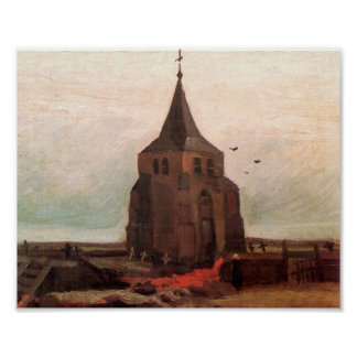Torre de iglesia vieja en la bella arte de Nuenen Póster