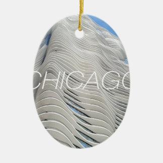 Torre de la aguamarina de Chicago Adorno Ovalado De Cerámica