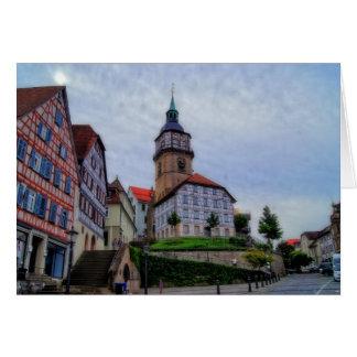Torre de la ciudad en Backnang en Alemania Tarjeta De Felicitación