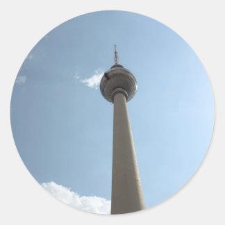 Torre de la televisión en Berlín, Alemania Pegatina Redonda
