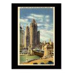 Torre de la tribuna, vintage de Chicago Tarjetas Postales