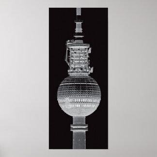 Torre de la TV (Fernsehturm), Berlín, gris (tv14bw Posters