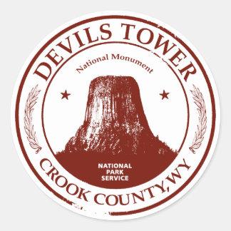 Torre de los diablos pegatina redonda