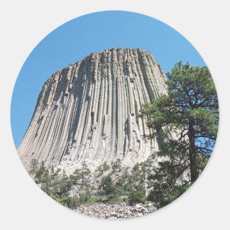 Torre de los diablos, Wyoming Pegatina Redonda