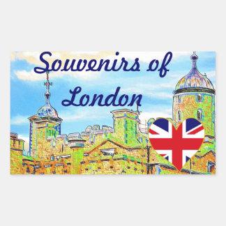 Torre de los recuerdos de Londres Británicos Pegatina Rectangular