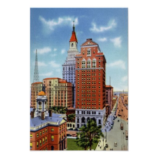 Torre de los viajeros de Hartford Connecticut Póster
