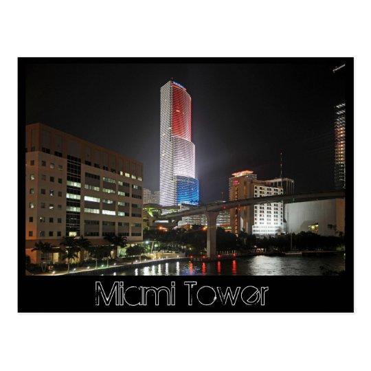 Torre de Miami en colores blancos y azules rojos Tarjeta Postal