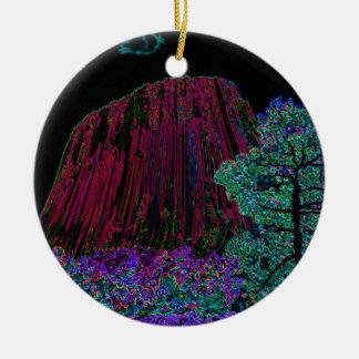 Torre de neón de los diablos del resplandor adorno navideño redondo de cerámica