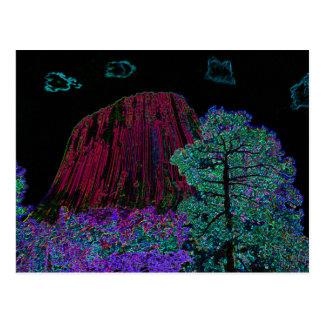 Torre de neón de los diablos del resplandor tarjetas postales