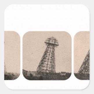 Torre de Nikola Tesla Pegatina Cuadrada