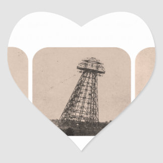 Torre de Nikola Tesla Pegatina En Forma De Corazón