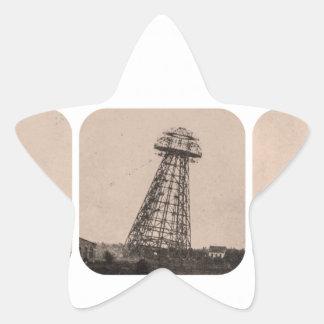Torre de Nikola Tesla Pegatina En Forma De Estrella
