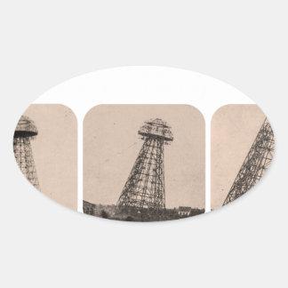 Torre de Nikola Tesla Pegatina Ovalada