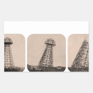 Torre de Nikola Tesla Pegatina Rectangular