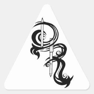 Torre de perforación el logotipo del artista pegatina triangular