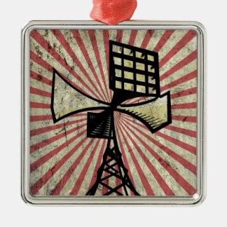 Torre de radio de la sirena adorno navideño cuadrado de metal