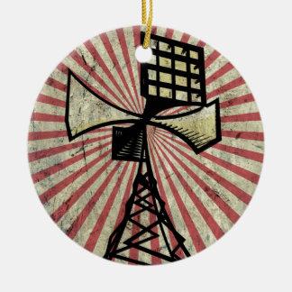 Torre de radio de la sirena adorno navideño redondo de cerámica