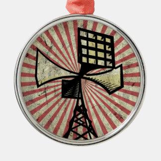 Torre de radio de la sirena adorno navideño redondo de metal