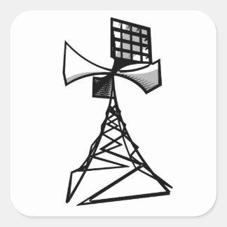 Torre de radio de la sirena pegatina cuadrada