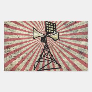 Torre de radio de la sirena pegatina rectangular