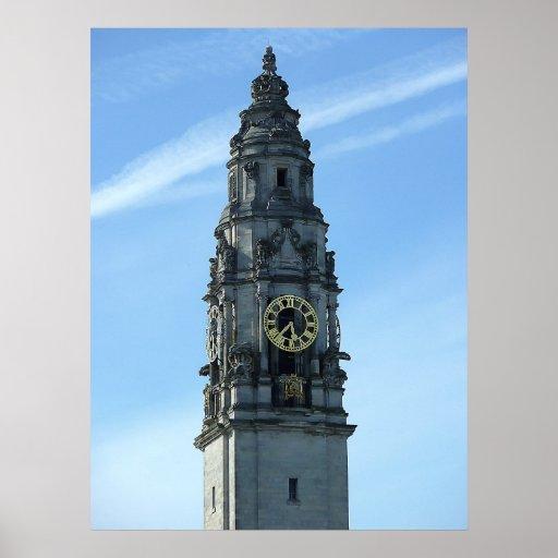 Torre de reloj de ayuntamiento, Cardiff Impresiones