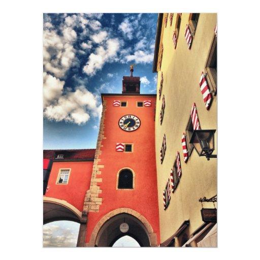 """Torre de reloj de Nuremberg HDR Invitación 6.5"""" X 8.75"""""""