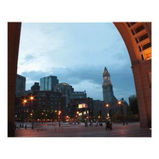 Torre de reloj en Boston por noche Impresiones Fotograficas